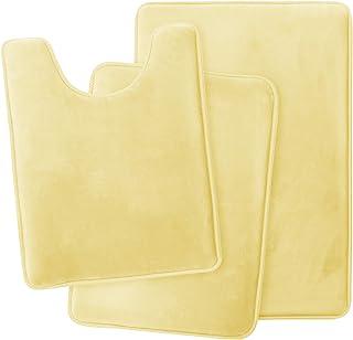 Clara Clark Memory Foam Bath Mat Ultra Soft Non Slip and Absorbent Bathroom Rug, Set of 3 - Small/Large/Contour, Mellow Ye...