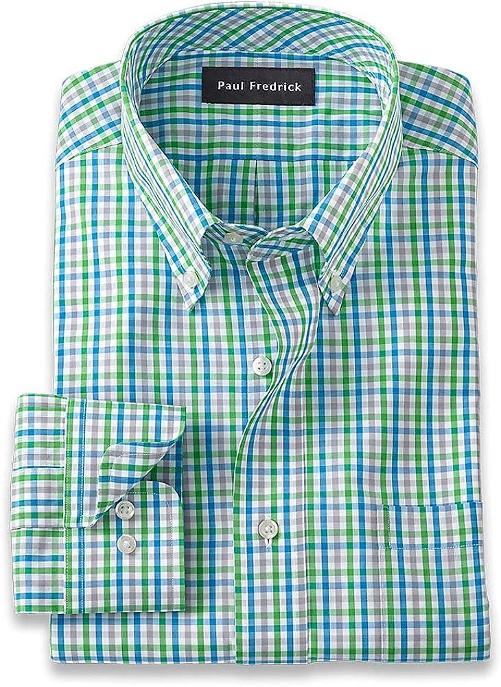 Paul Fredrick Men's Classic Fit Pure Cotton Gingham Dress Shirt