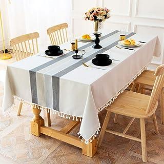 J-MOOSE Lin Coton Nappe de Table Rectangulaire Nappes pour Table Rectangulaire Home Cuisine Décoration (140x220cm, Gray/Wh...