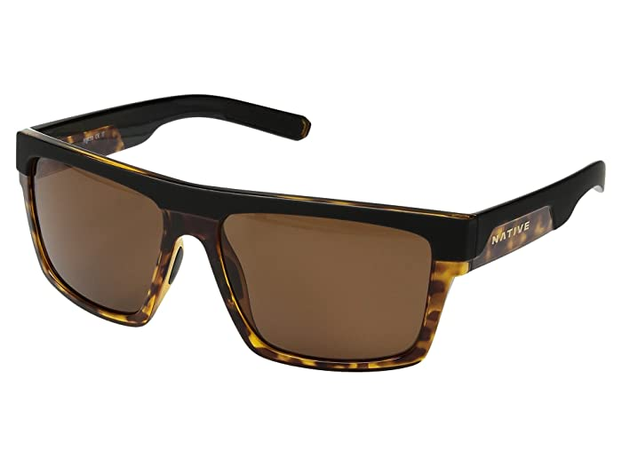 Native Eyewear El Jefe (Matte Black/Maple Tort/Brown Polarized Lens) Athletic Performance Sport Sunglasses