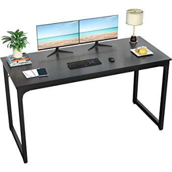 """Foxemart Computer Desk 55"""" Modern Sturdy Office Desk PC Laptop Notebook Study Writing Table for Home Office Workstations, Black"""