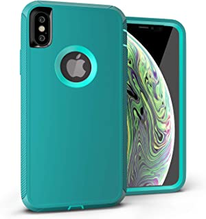 iPhone Xs Max Case, Viero Defender iPhone Xs Max Case Heavy Duty Rugged Impact Resistant Full Protective Armor Military Protection Belt Clip Holster Shockproof Case Cover- Teal/Teal