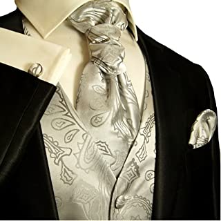 Wedding Vest Set Silver Paisley