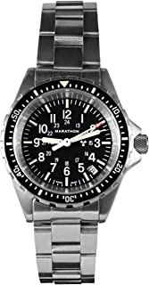 Marathon Watch WW194027 Swiss Made Military Diver's Quartz Medium Size Watch with Tritium (36mm) - Rubber Strap or Stainless Steel Bracelet (US or NGM)