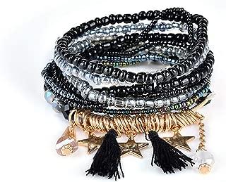 Bohemian Multilayer Vintage Beads Bracelets Boho Statement Tassel Pearl Wrap Bracelet Bangles