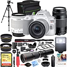 $799 » Canon EOS Rebel SL3 DSLR 4K Camera (White) with EF-S 18-55mm f/3.5-5.6 is STM and EF 75-300mm f/4-5.6 III Double Zoom Lens Kit and 500mm Preset f/8 Telephoto Lens + 0.43x Wide Angle, 2.2X Pro Bundle