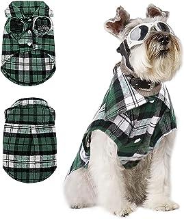 SUNFURA Plaid Dog Shirt, Soft Breathable British Style Sweater Collar T-Shirt for Small Medium...