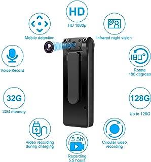 Cámara Oculta-Cámara espía-Mini cámara Corporal 6 Horas Duración de la batería Tarjeta de 32GB incluida Cámara espía 1080P Detección de Movimiento Cámara Oculta Personal para el hogar y la Oficina