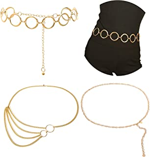 Gold Waist Chain Belt for Women Metal Hoop Link Waistbands Charm Belly Body Chain Bikini Dress Jewelry 3 Pack