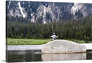 GREATBIGCANVAS Gallery-Wrapped Canvas Entitled Fly Fisherman by 18