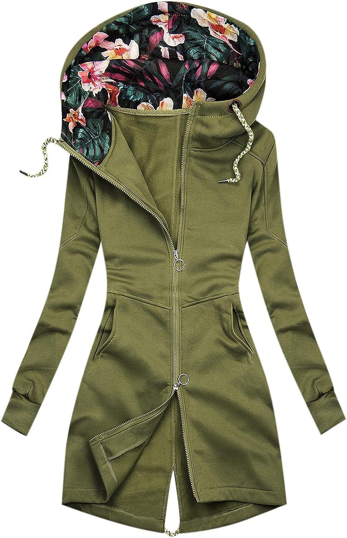 YRAETENM Womens Winter Jacket Long Sleeve Tops Zip Up Hoodies Floral Print Coats Oversized Casual Loose Blouse