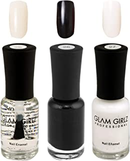 Glam Girlz Nail Polish-Combo(25-26-27) Transparent, Black, White  (Pack of 3)