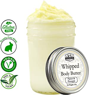 8 Oz. Ultra Whipped, Luxury Papaya & Pineapple Body Butter - Made with organic shea butter, cocoa butter, coconut oil & essential oil for ultimate skin hydration experience