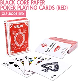 HOUZE OLS-48201-RED Black Core Paper Poker Playing Cards, Red