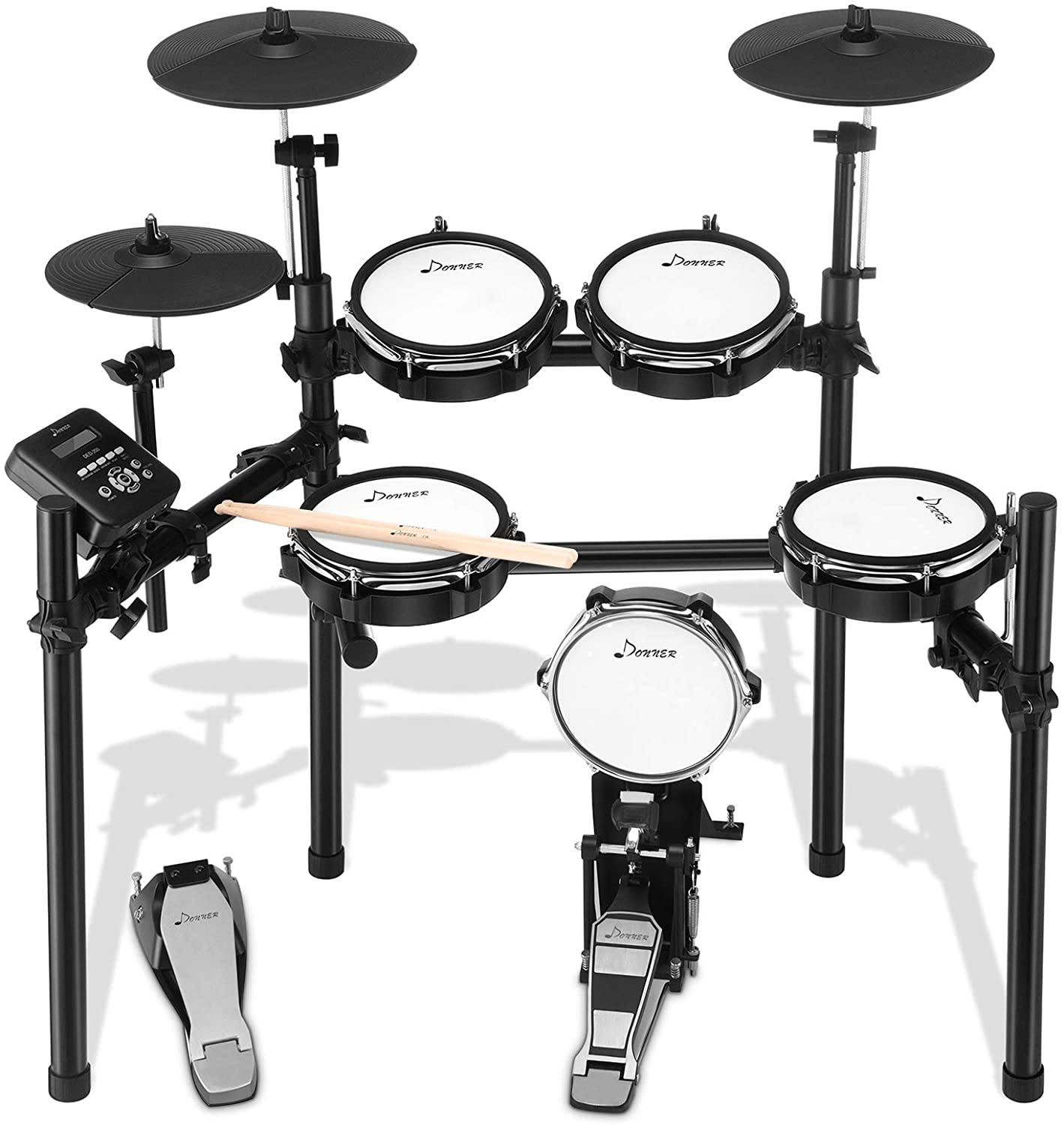 Donner DED-200 Electric Drum Set for Christmas Electronic Kit with 5 Drums 3 Cymbals, Electric Drum, Audio Line and Drum Stick