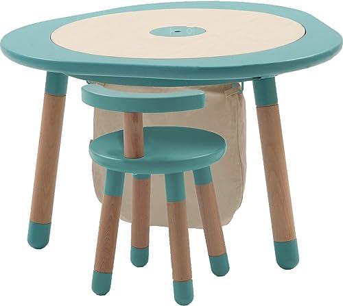 MUtable, la Table Multi-Jeux de 1 à 8 Ans Hommesthe avec Une Chaise Hommesthe et Un Sac collecter des Jeux écrus