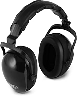 Heavy Duty 32DB Noise Cancelling Ear Muffs- Sweat Proof Padded Headband- Fully Adjustable Cups- Ultimate Hearing Protection for Gun Range Shooting/Hunting/Construction Work & More (Black)