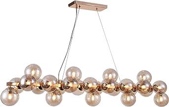 Design hanglamp, 25 lampen, moderne stijl, loft, frame van metaal, kleur goud, lampenkap is gemaakt van helder glas, 25 la...