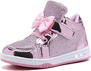YILAN Toddler Glitter Shoes Girl`s Flashing Sneakers with Cute Bowknot