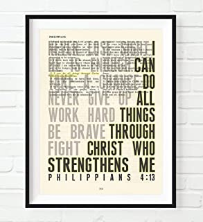 I Can Do All Things, Philippians 4:13, Christian Unframed Art Print, Vintage Bible Verse Scripture Wall and Home Decor Poster, Inspirational Gift, 8x10 inches