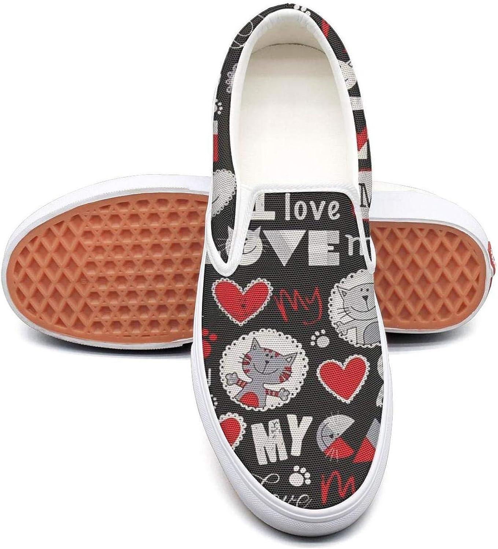 RegiDreae Canvas Slip on Sneakers Women Fat cat Fuck Fashion Sneaker