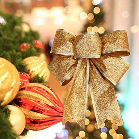 Christmas Tree Decoration Glittered Bows Gold Gift Bows Xmas Party Glitter Decor