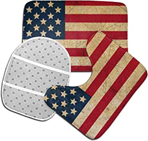 Vintage American Flag Toilet Bathmats Carpet Memory Foam Non-Slip Bath Rugs Toilet Seat Cover Lid Pedestal Rug Lid Toilet Cover U-Shaped Mat 3pcs/Set