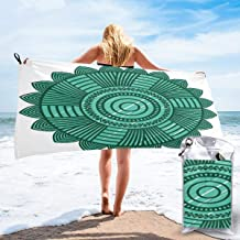 bikini bags Round Mandala Design with Flower Pattern Chevron Zigzag Lines and Dots Lightweight Towel for Swimmers, Sand Free Towel, Beach Towels 27.5