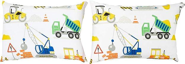 Bloomsbury Mill - Juego de cama para niño - Juego de 2 fundas de almohada adicionales 50cm x 75cm - Granja - Vehículos de construcción - Camiones, excavadoras y grúas
