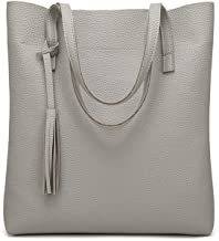 Chibi-store Women's Soft Leather Handbag Women Shoulder Bag Luxury Tassel Bucket Bag