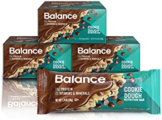 Balance Bar, Healthy Protein Snacks, Cookie Dough, With Vitamin A, Vitamin C, Vitamin D, and Zinc to Support Immune Health...