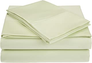 450 Thread Count Combed Cotton, Deep Pocket, Single Ply, 4-Piece King Bed Sheet Set, Solid, Sage