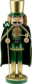 Clever Creations Wooden Irish Nurcracker with Staff | Green & Gold Irish Nutcracker with Shamrock & Pipe | Festive Traditional Christmas Decor | 14