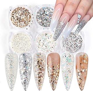 Holographic Nail Art Glitter Sequins 6 Color Laser Sparkle Nail Glitter 3D Shining Flakes Design Decoration Paillette Powd...