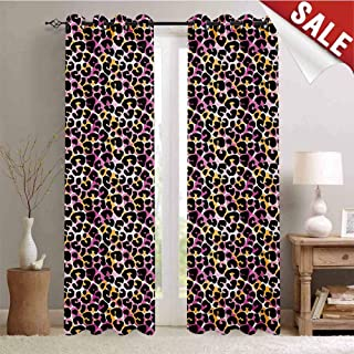 Leopard Print, Blackout Draperies for Bedroom, Abstract Wild Exotic Animal Skin Pattern in Artistic Style with Vibrant Color, Thermal Insulating Blackout Curtain, W84 x L96 Inch Multicolor