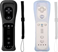 Poglen 2 Packs Wireless Gesture Controller Compatible for Nintendo wii/wii u Console - with Silicone Case and Wrist Strap for wii Controller(Black and White)