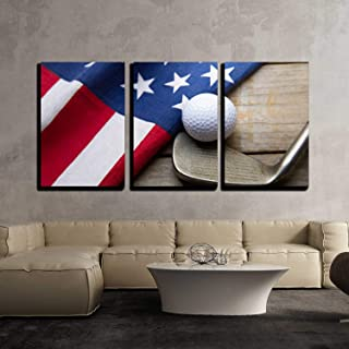 wall26-3 Piece Canvas Wall Art - Golf Ball with Flag of USA on Wood Table - Modern Home Decor Stretched and Framed Ready to Hang - 16