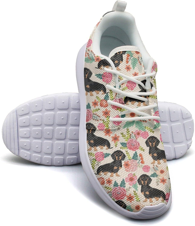 ERSER Flowers Florals Dachshund Dog Stability Running shoes Women