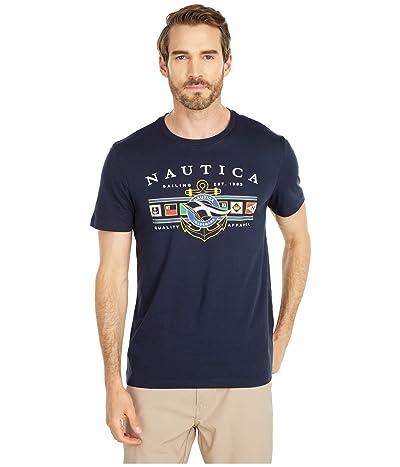 Nautica Colored Flags Graphic Tee (Blue) Men