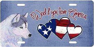 Caroline's Treasures SS4976LP Woof if You Love America Siberian Husky License Plate, Plate, Multicolor
