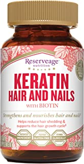 Reserveage, Keratin Hair and Nails, Beauty Supplement, Helps Strengthen and Nourish Hair and Nails with Biotin, Gluten Fre...