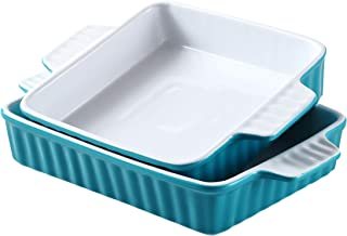 Bruntmor Set Of 2 Rectangular Bakeware Set Ceramic Baking Pan Lasagna Pans for Baking, large 12.4 x 7.4 small 10.4 x 8, Te...