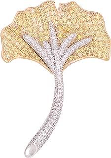 OBONNIE Elegant Ginkgo Leaf Flower Cubic Zircon Brooch Corsage Lapel Pin for Wedding Bouquet Banquet