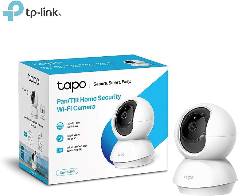 TP-Link - Cámara IP WiFi y webcam admite tarjeta SD de hasta 128 GB FHD 1080p con visión nocturna cámara de mascota detección de movimiento audio de 2 vías compatible con iOS/Android (Tapo C200)