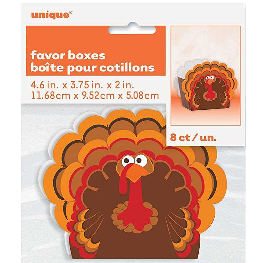 Turkey Thanksgiving Favor Boxes, 8ct