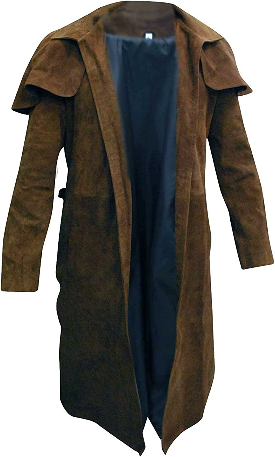New Vegas A7 Armor Classic Veteran Ranger Brown Suede Leather Trench Duster Coat for Men