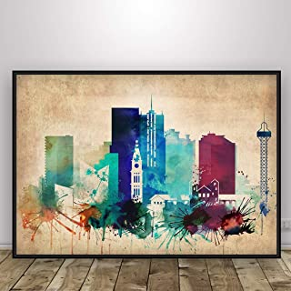 Denver Vintage Watercolor Skyline Print, Denver Colorado Cityscape Poster, Wall Art, Colorado Cityscape Poster, Home Decor, Denver Silhouette, Unframed print