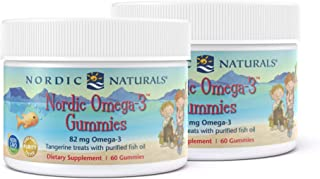Nordic Naturals Nordic Omega-3 Gummies, Tangerine - 60 Gummies - Pack of 2 - 83 mg Total Omega-3s with EPA & DHA - Non-GMO...