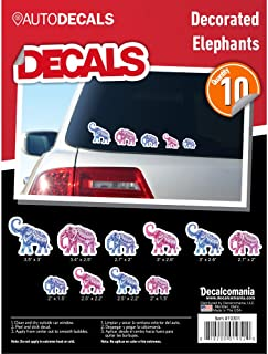 Decorated Colorful Mandala Zen Elephant Family Decals for Car Truck Laptop Vehicle Tumbler Includes 10 Outdoor Vinyl Stickers