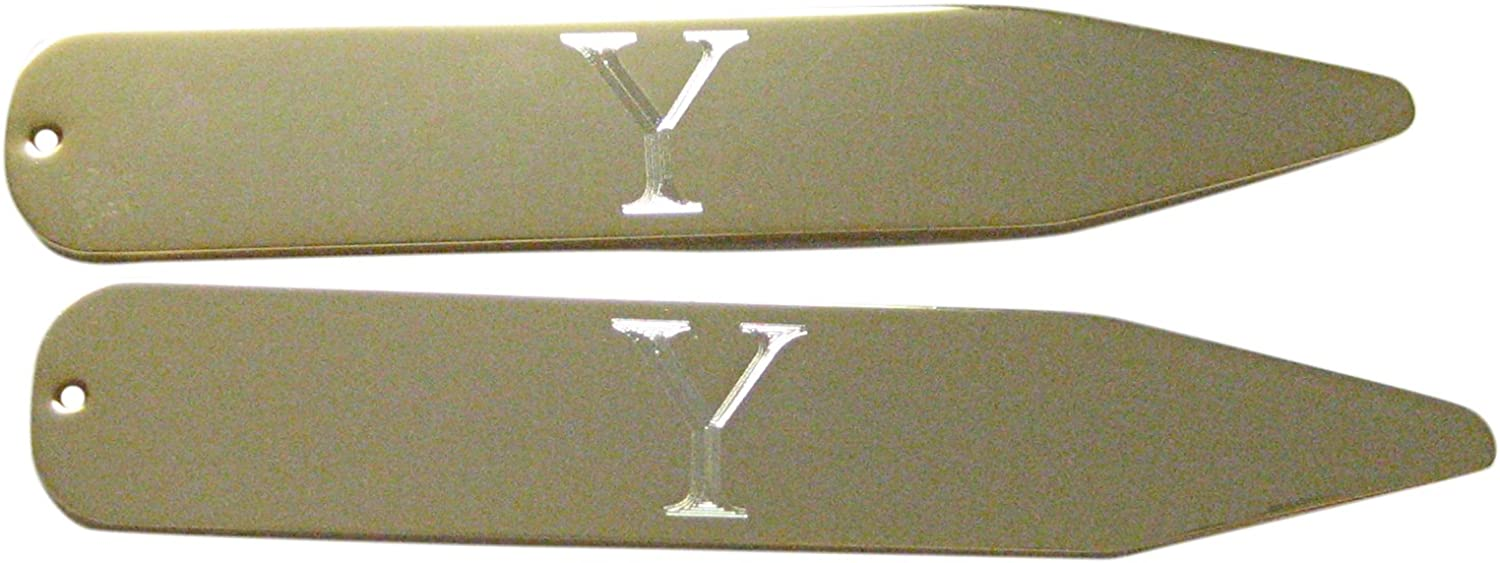Gold Toned Etched Letter Y Monogram Collar Stays